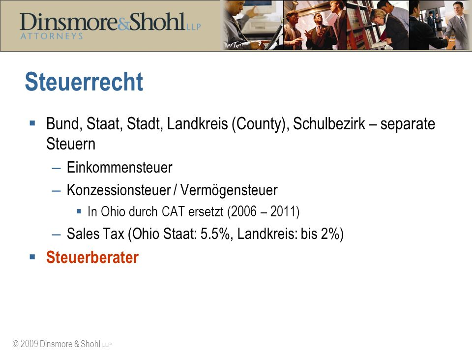 Steuerrecht Bund, Staat, Stadt, Landkreis (County), Schulbezirk – separate Steuern. Einkommensteuer.