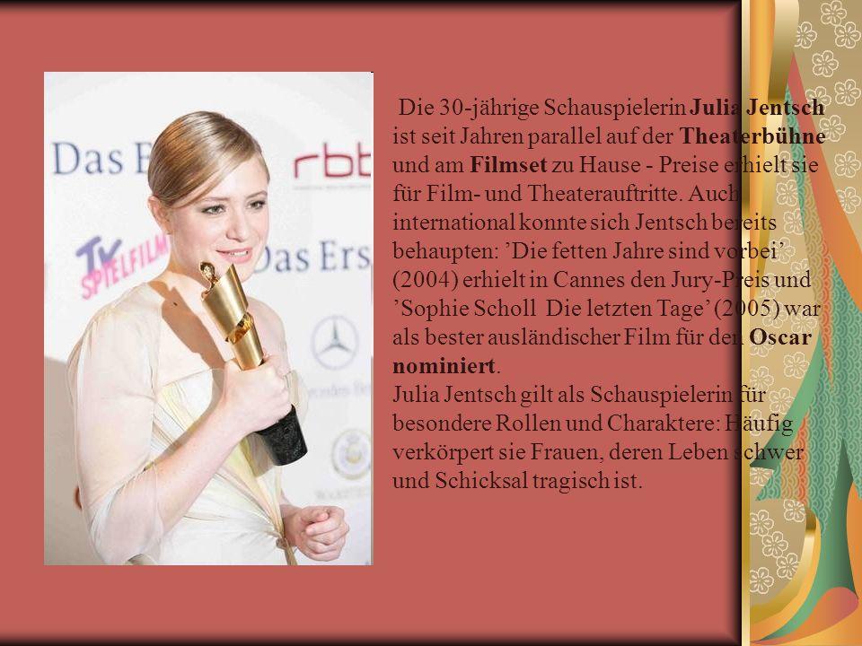 Die 30-jährige Schauspielerin Julia Jentsch ist seit Jahren parallel auf der Theaterbühne und am Filmset zu Hause - Preise erhielt sie für Film- und Theaterauftritte.