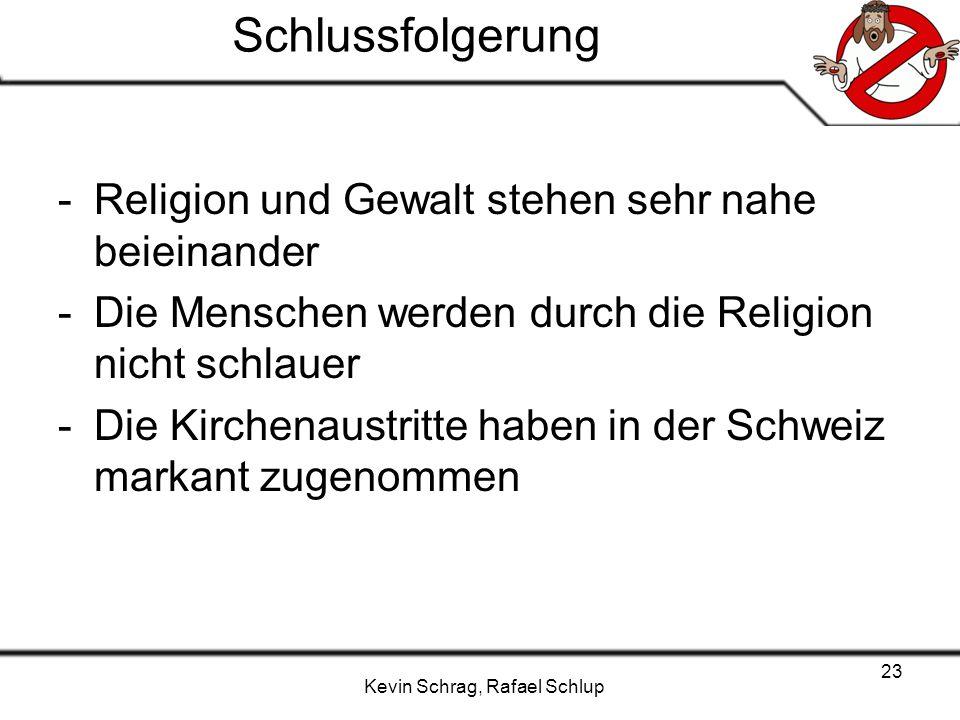 Schlussfolgerung Religion und Gewalt stehen sehr nahe beieinander
