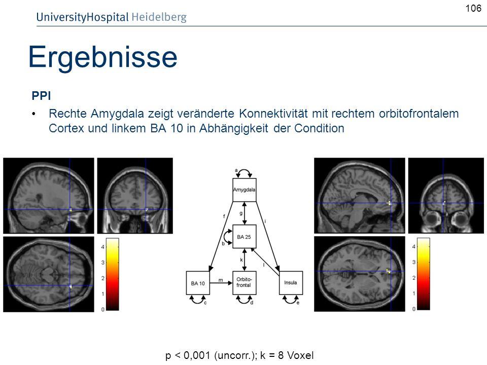 106Ergebnisse. PPI. Rechte Amygdala zeigt veränderte Konnektivität mit rechtem orbitofrontalem Cortex und linkem BA 10 in Abhängigkeit der Condition.