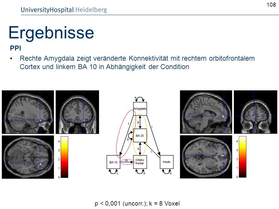 108Ergebnisse. PPI. Rechte Amygdala zeigt veränderte Konnektivität mit rechtem orbitofrontalem Cortex und linkem BA 10 in Abhängigkeit der Condition.