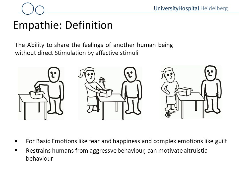 Empathie: DefinitionThe Ability to share the feelings of another human being without direct Stimulation by affective stimuli.