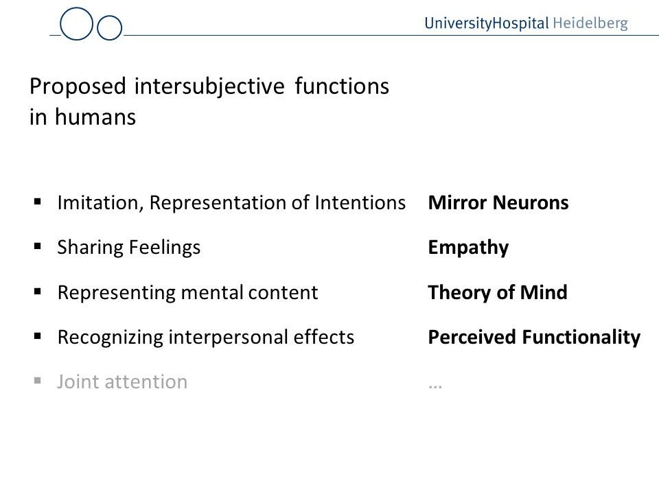 Proposed intersubjective functions in humans