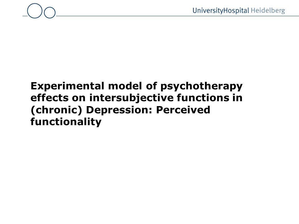 Experimental model of psychotherapy