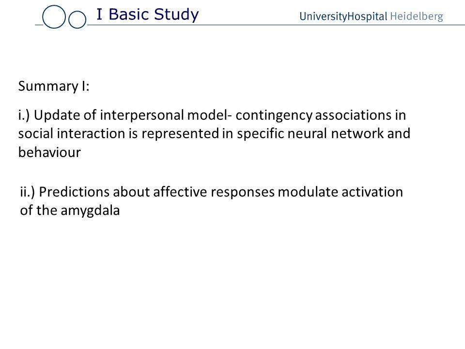 I Basic StudySummary I: