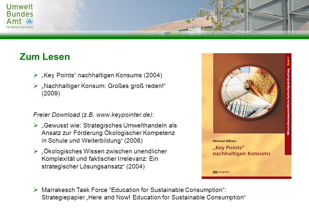 """Zum Lesen """"Key Points nachhaltigen Konsums (2004)"""