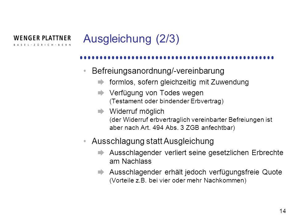 Ausgleichung (2/3) Befreiungsanordnung/-vereinbarung