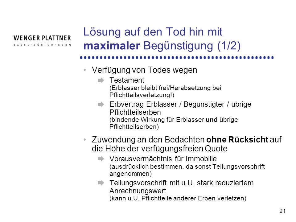Lösung auf den Tod hin mit maximaler Begünstigung (1/2)
