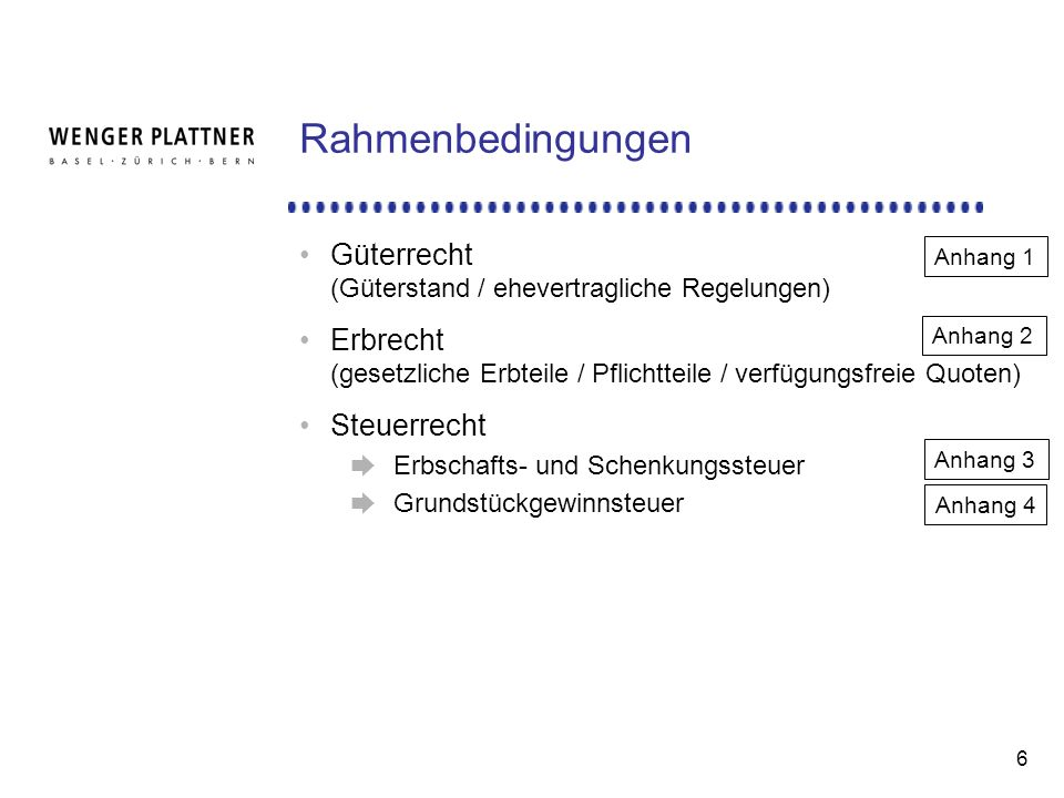 Rahmenbedingungen Güterrecht (Güterstand / ehevertragliche Regelungen)