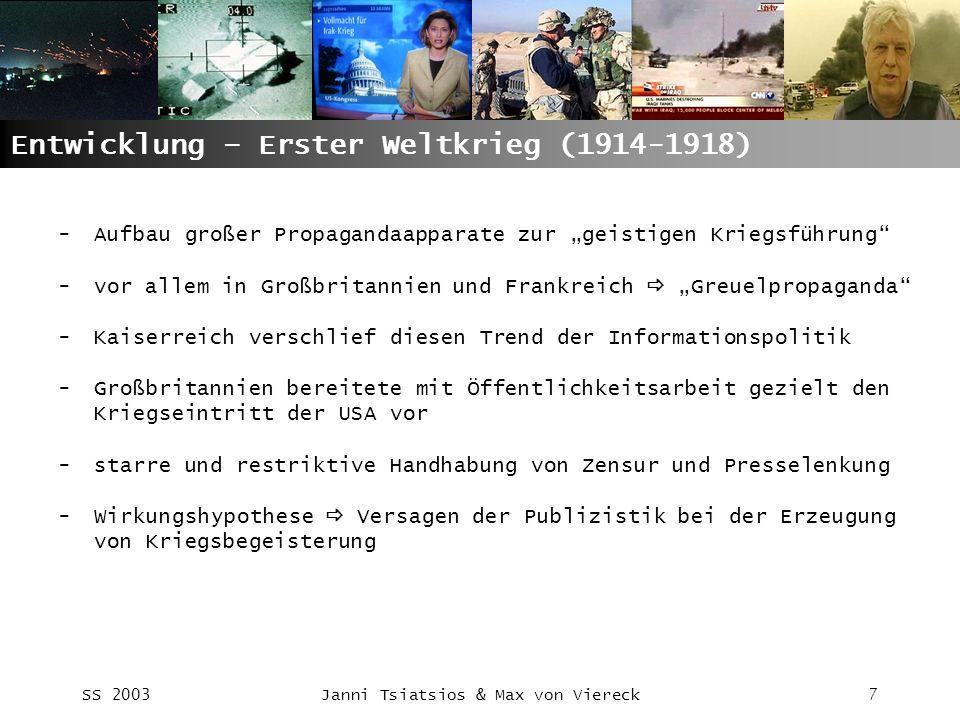 Entwicklung – Erster Weltkrieg (1914-1918)
