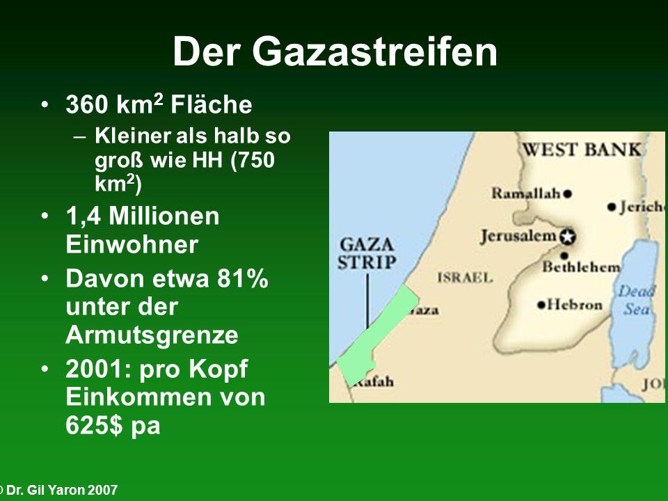 Der Gazastreifen 360 km2 Fläche 1,4 Millionen Einwohner