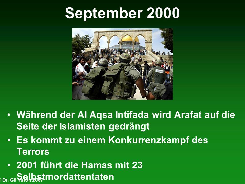 September 2000Während der Al Aqsa Intifada wird Arafat auf die Seite der Islamisten gedrängt. Es kommt zu einem Konkurrenzkampf des Terrors.