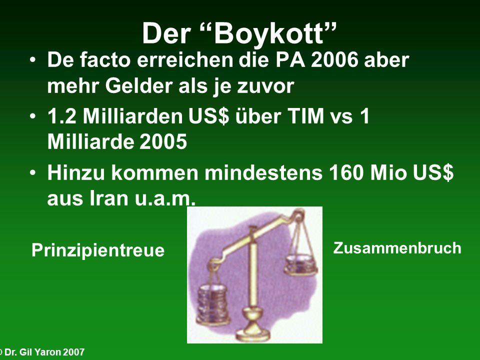 Der Boykott De facto erreichen die PA 2006 aber mehr Gelder als je zuvor. 1.2 Milliarden US$ über TIM vs 1 Milliarde 2005.