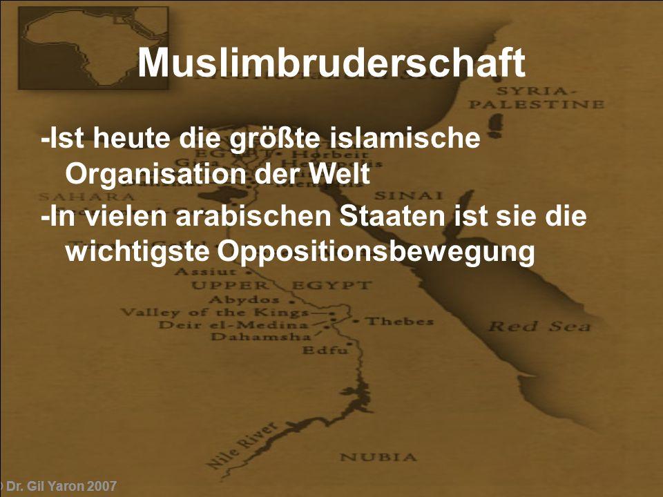 Muslimbruderschaft -Ist heute die größte islamische Organisation der Welt. -In vielen arabischen Staaten ist sie die wichtigste Oppositionsbewegung.
