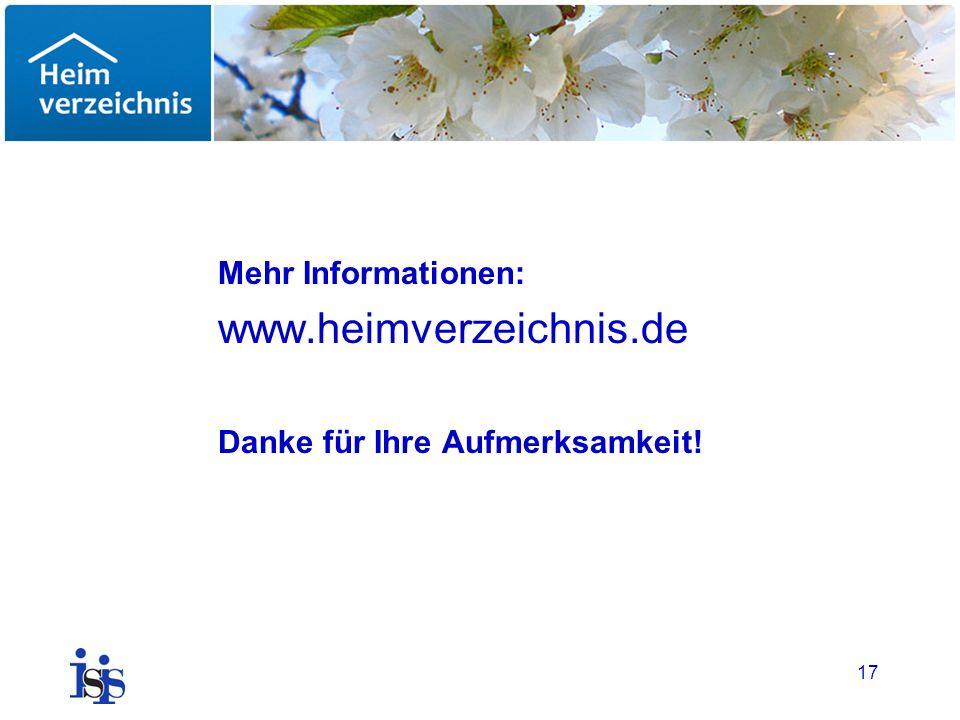 www.heimverzeichnis.de Mehr Informationen: