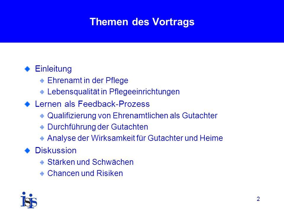 Themen des Vortrags Einleitung Lernen als Feedback-Prozess Diskussion