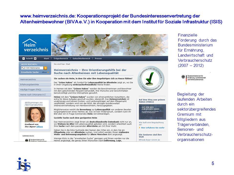 www.heimverzeichnis.de: Kooperationsprojekt der Bundesinteressenvertretung der Altenheimbewohner (BIVA e.V.) in Kooperation mit dem Institut für Soziale Infrastruktur (ISIS)