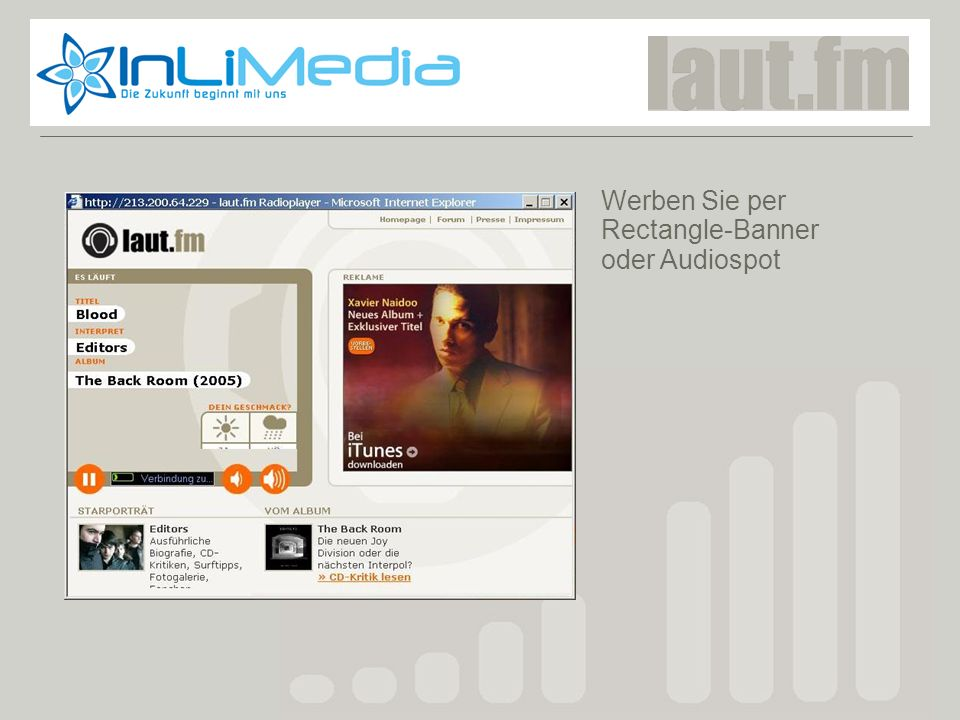 Werben Sie per Rectangle-Banner oder Audiospot Laut.fm screenshot