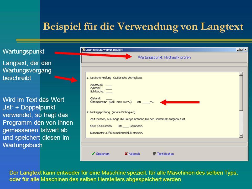 Beispiel für die Verwendung von Langtext