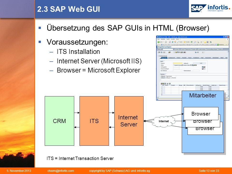Übersetzung des SAP GUIs in HTML (Browser) Voraussetzungen: