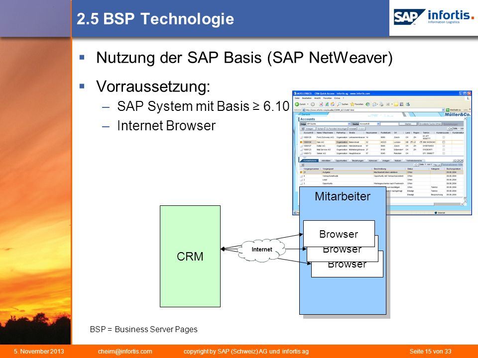 Nutzung der SAP Basis (SAP NetWeaver) Vorraussetzung: