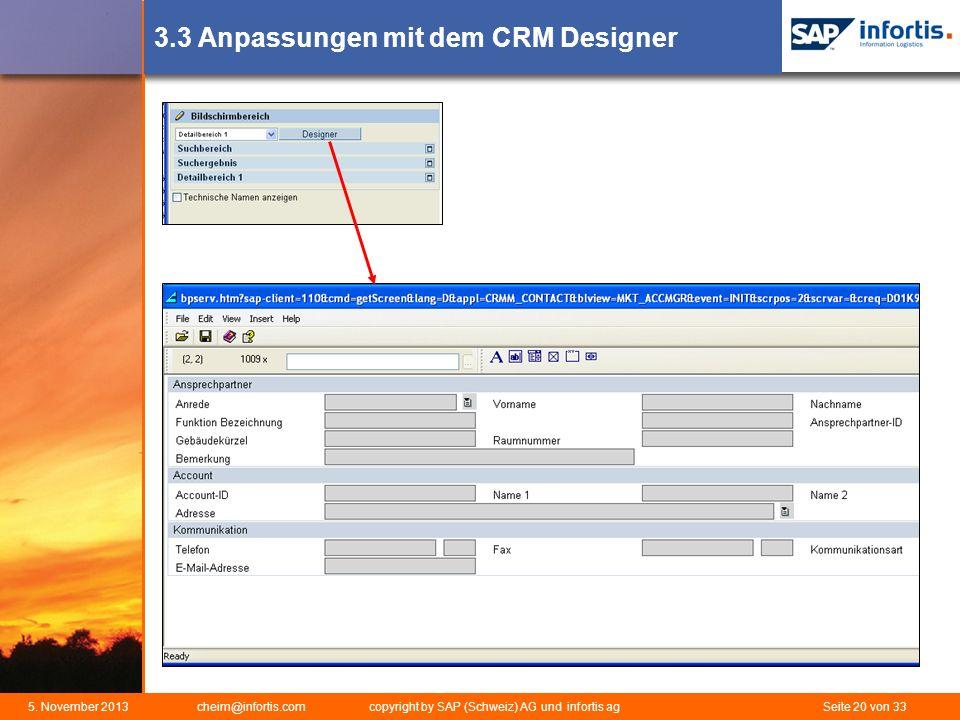 3.3 Anpassungen mit dem CRM Designer
