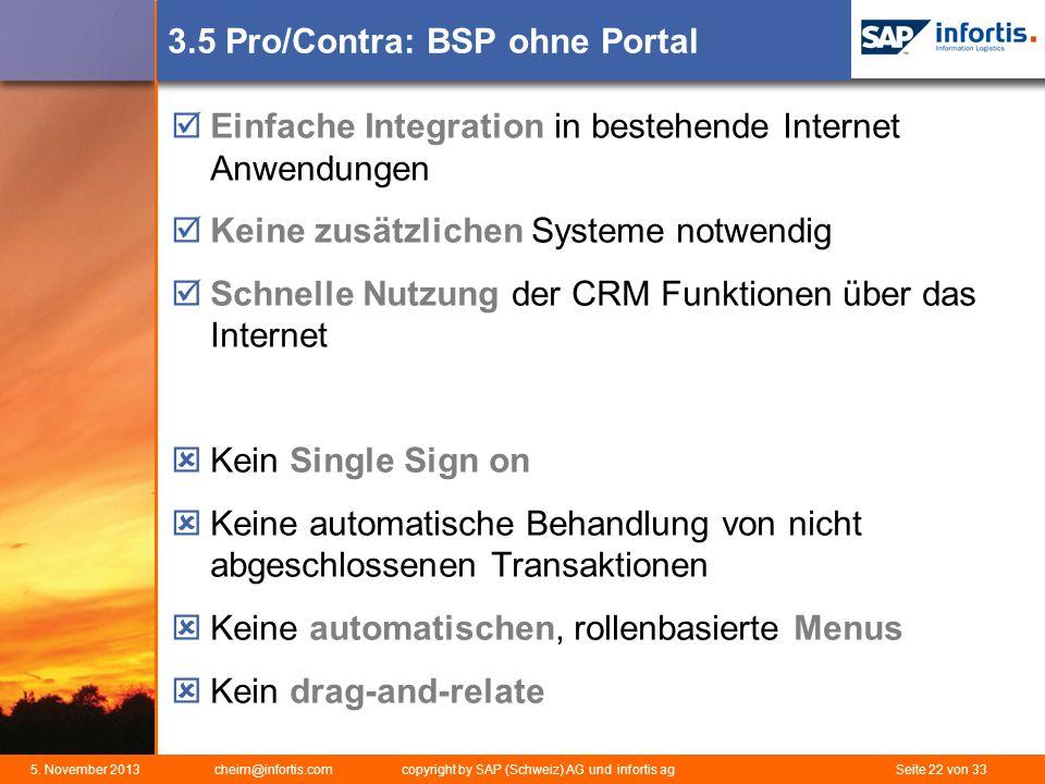 3.5 Pro/Contra: BSP ohne Portal
