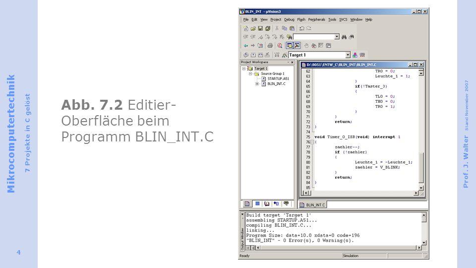 Abb. 7.2 Editier-Oberfläche beim Programm BLIN_INT.C