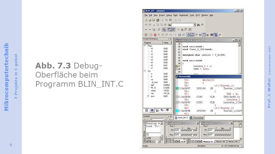 Abb. 7.3 Debug-Oberfläche beim Programm BLIN_INT.C