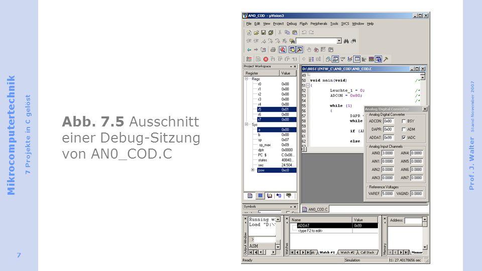 Abb. 7.5 Ausschnitt einer Debug-Sitzung von AN0_COD.C