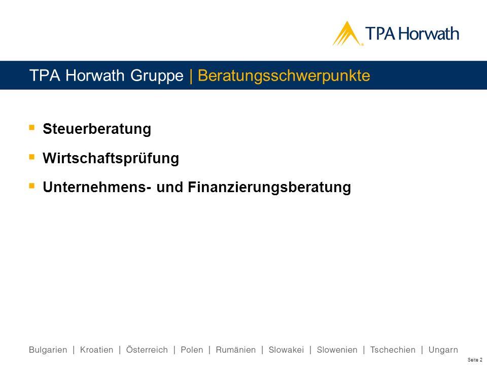 TPA Horwath Gruppe | Beratungsschwerpunkte