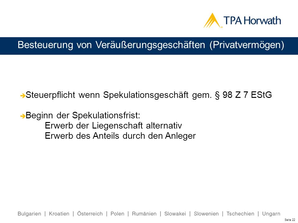 Besteuerung von Veräußerungsgeschäften (Privatvermögen)