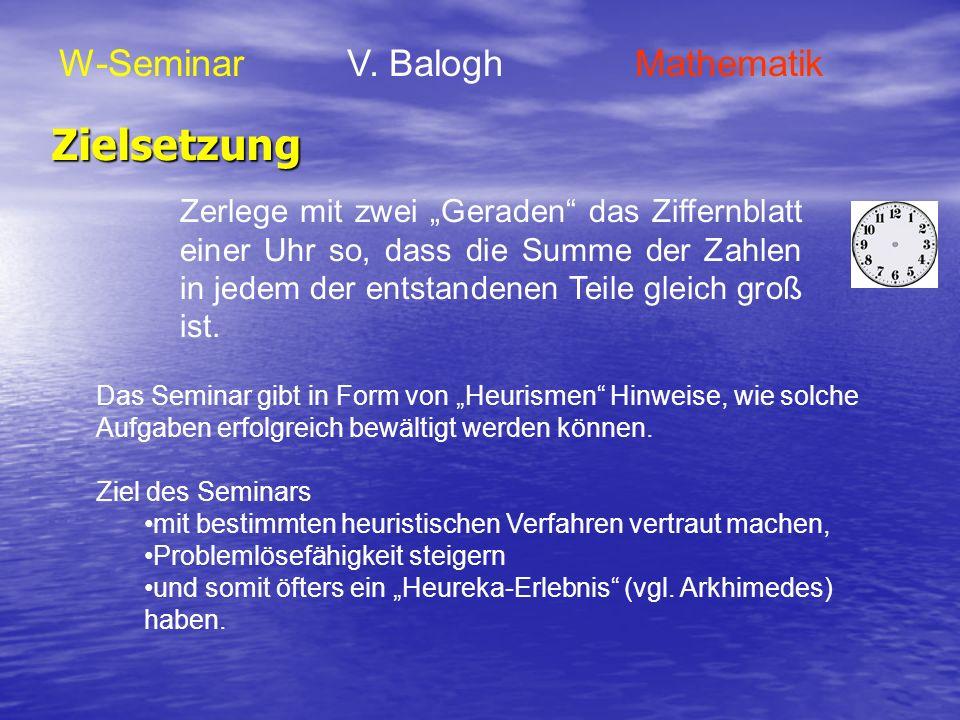 Zielsetzung W-Seminar V. Balogh Mathematik