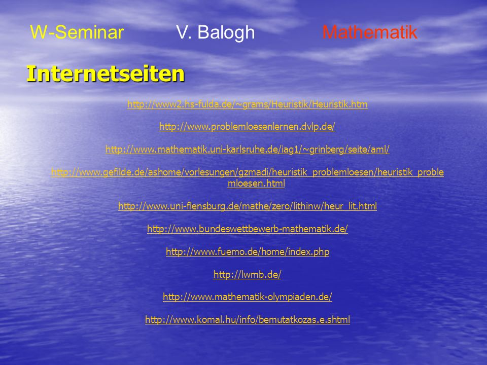 Internetseiten W-Seminar V. Balogh Mathematik