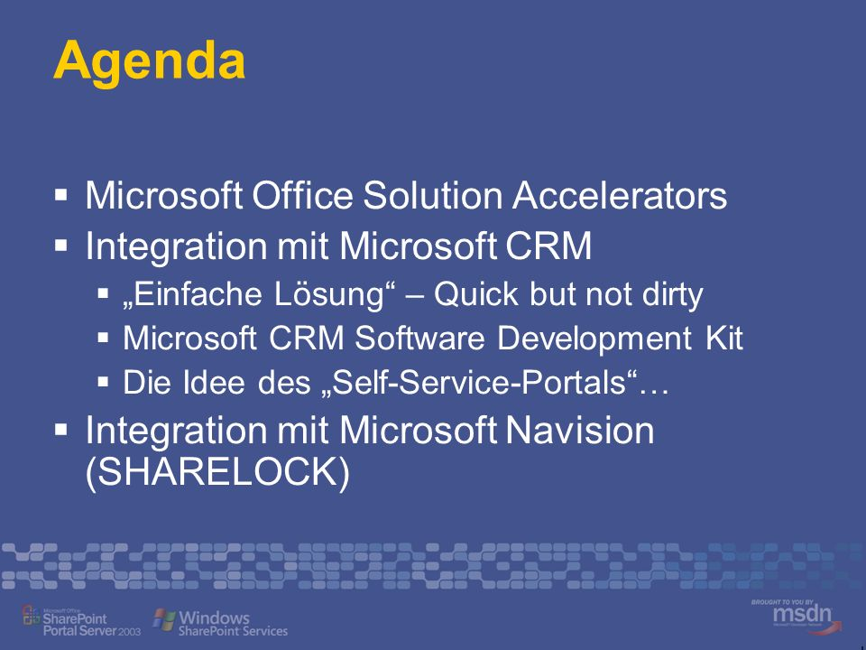 Agenda Microsoft Office Solution Accelerators