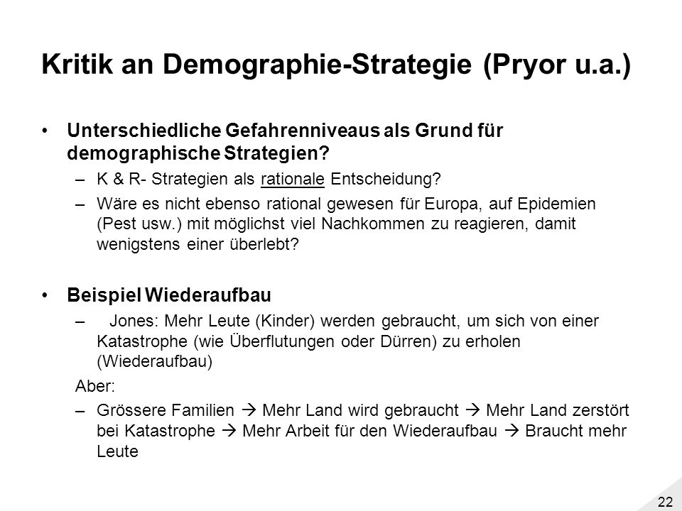 Kritik an Demographie-Strategie (Pryor u.a.)