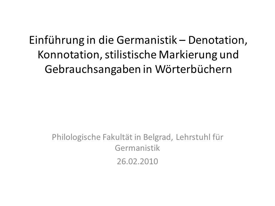 Philologische Fakultät in Belgrad, Lehrstuhl für Germanistik