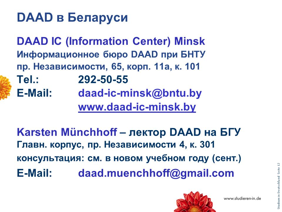 DAAD в Беларуси DAAD IC (Information Center) Minsk Tel.: 292-50-55