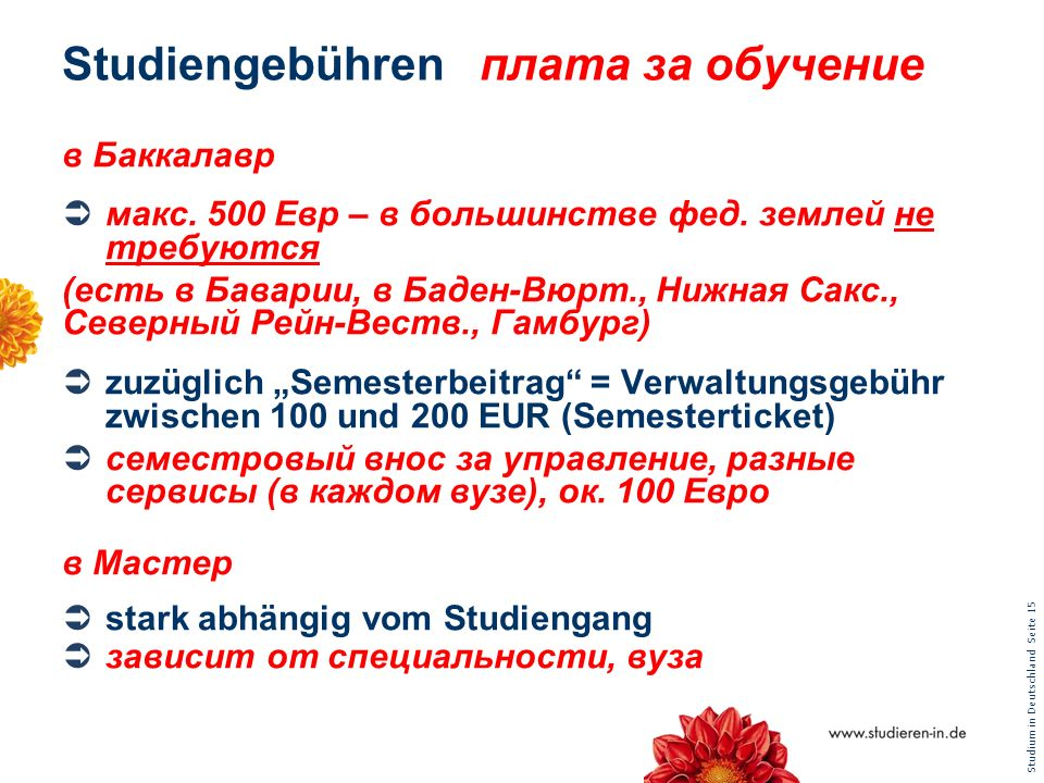 Studiengebühren плата за обучение