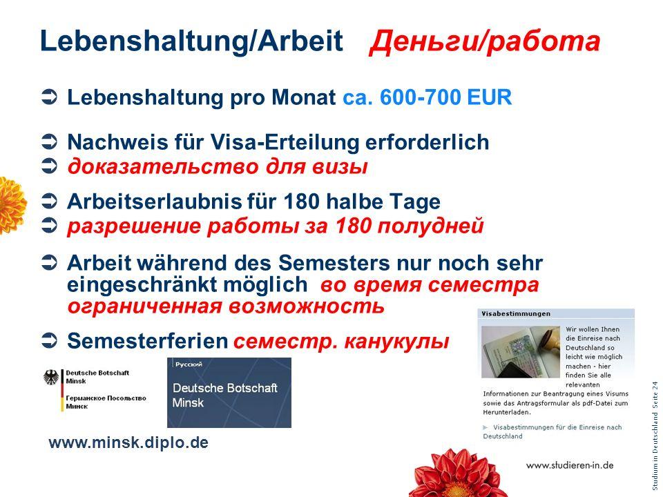 Lebenshaltung/Arbeit Деньги/работа