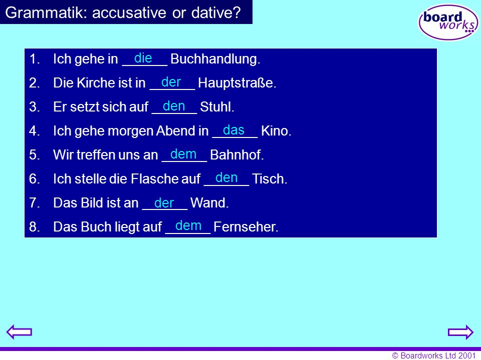 Grammatik: accusative or dative