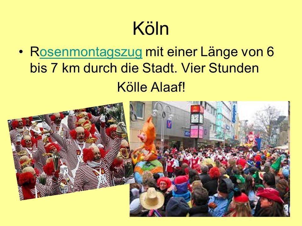 Köln Rosenmontagszug mit einer Länge von 6 bis 7 km durch die Stadt. Vier Stunden Kölle Alaaf!