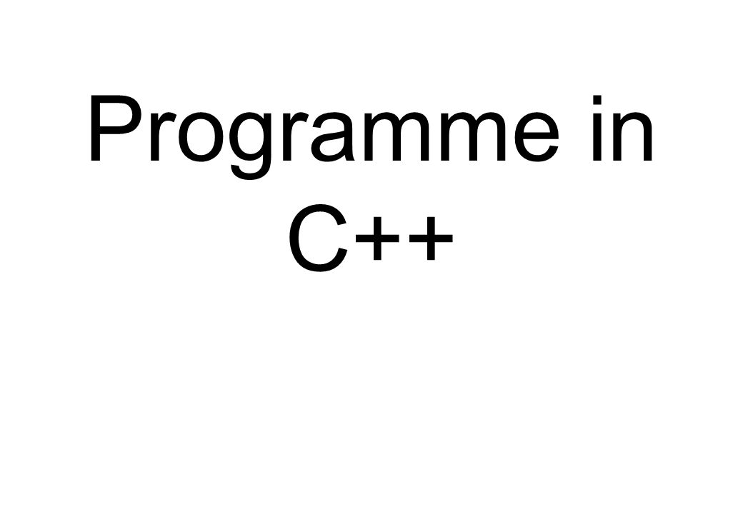 Programme in C++