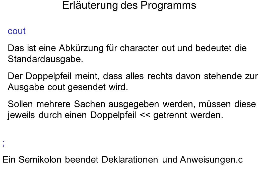 Erläuterung des Programms