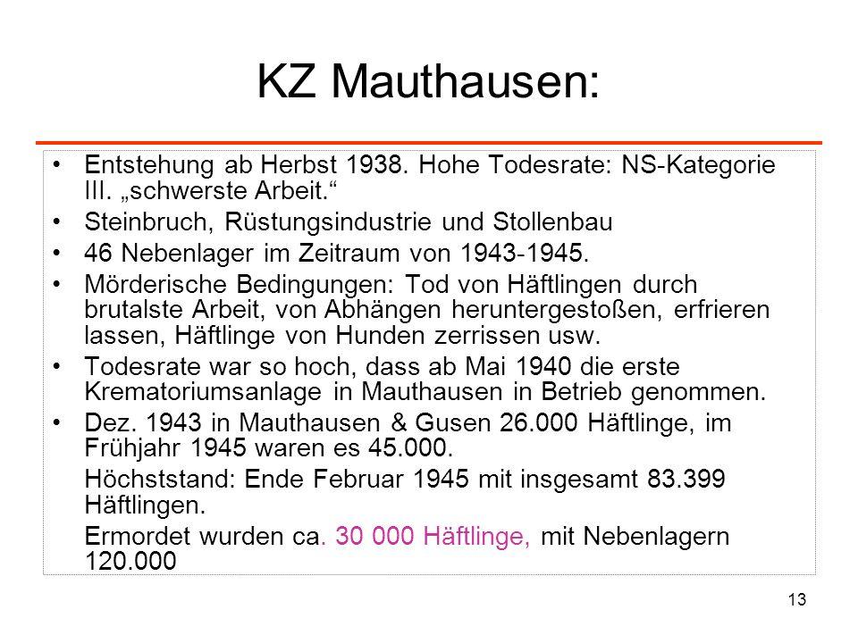 """KZ Mauthausen:Entstehung ab Herbst 1938. Hohe Todesrate: NS-Kategorie III. """"schwerste Arbeit. Steinbruch, Rüstungsindustrie und Stollenbau."""
