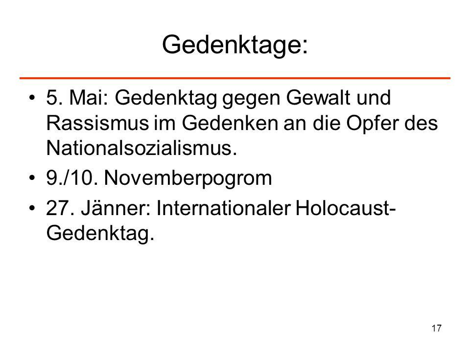 Gedenktage:5. Mai: Gedenktag gegen Gewalt und Rassismus im Gedenken an die Opfer des Nationalsozialismus.