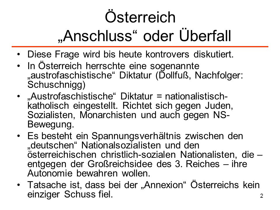 """Österreich """"Anschluss oder Überfall"""