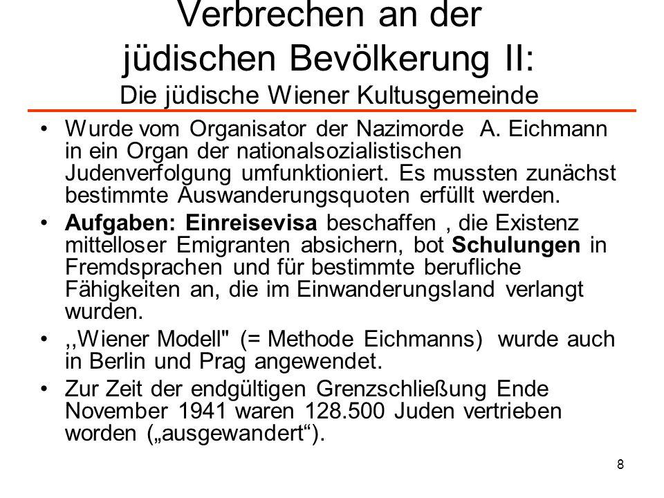 Verbrechen an der jüdischen Bevölkerung II: Die jüdische Wiener Kultusgemeinde