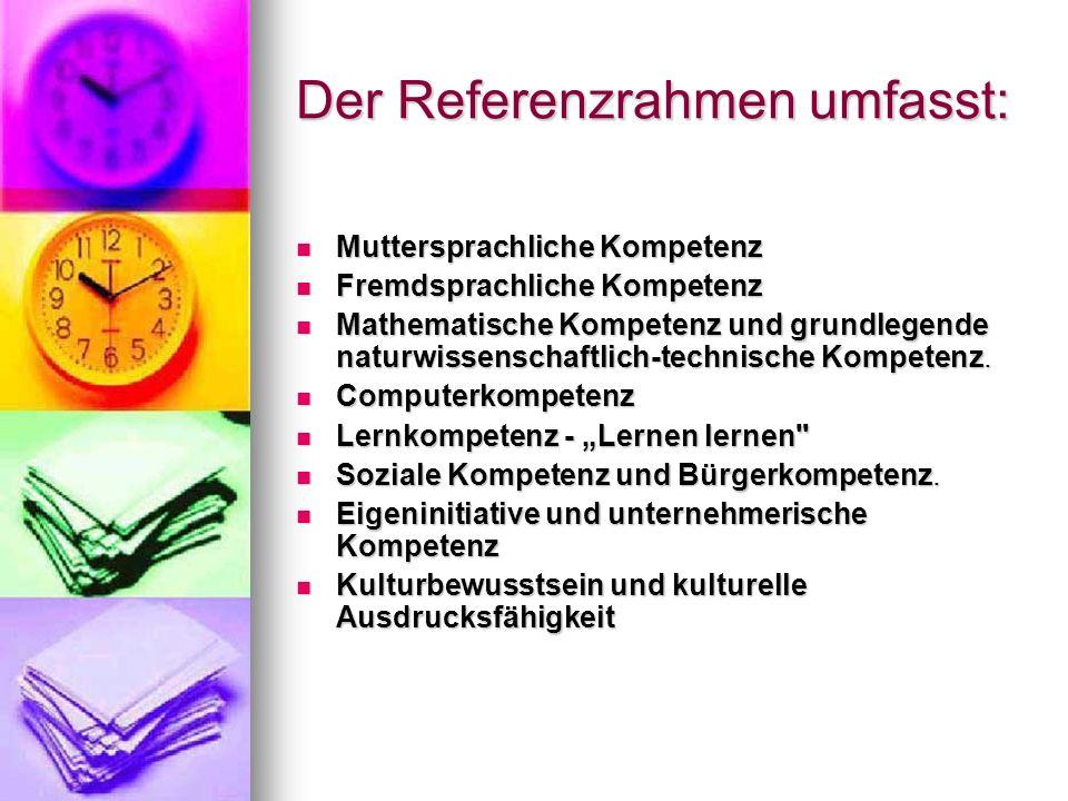 Der Referenzrahmen umfasst:
