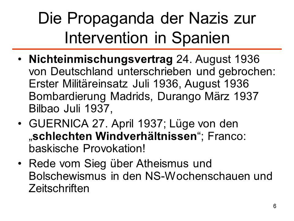 Die Propaganda der Nazis zur Intervention in Spanien